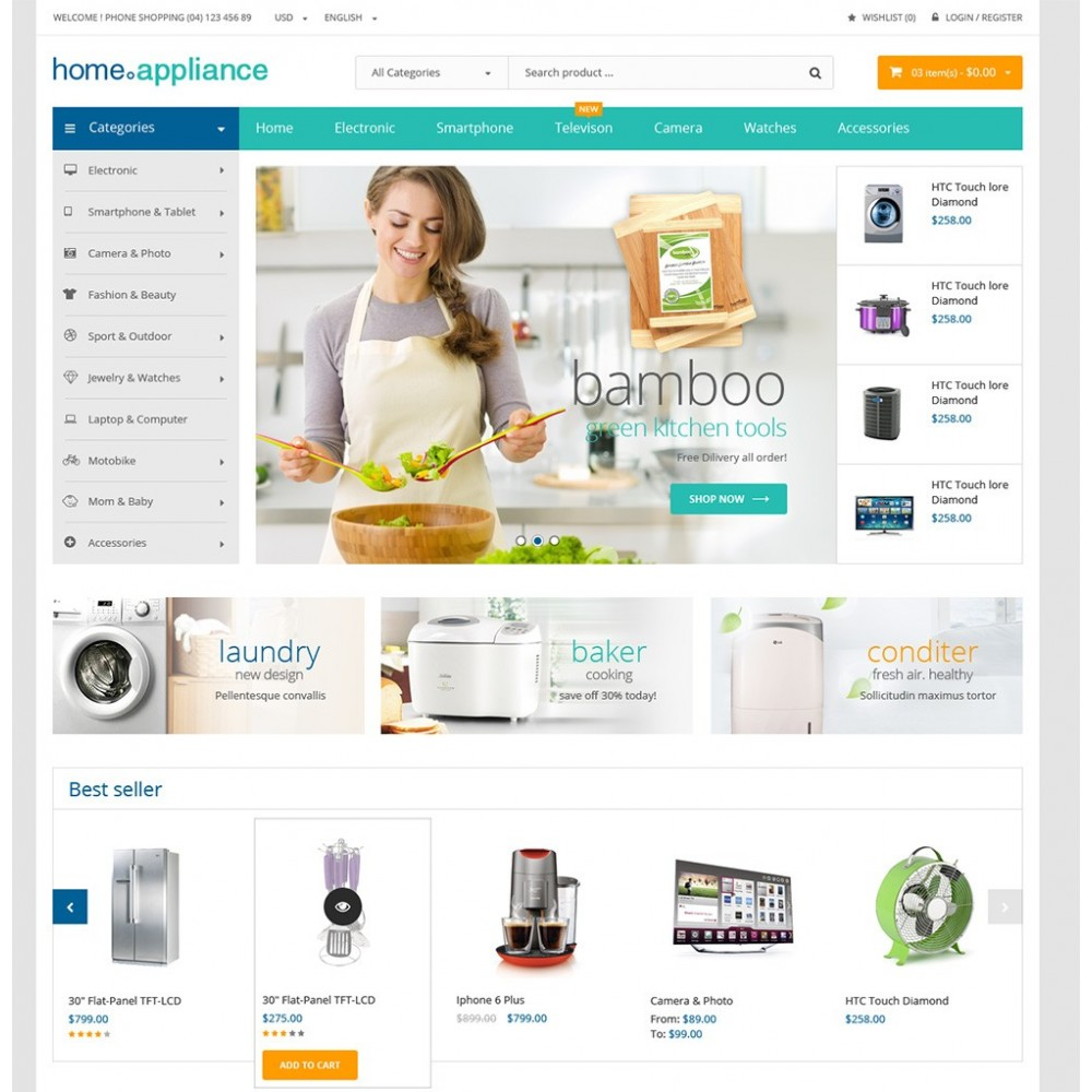 Home appliances prestashop theme for Presta shop templates